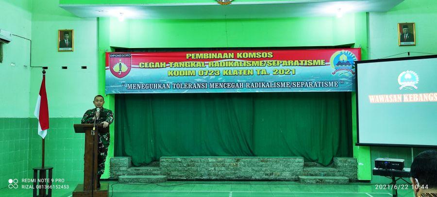 Kodim 0723/Klaten Gelar Komsos Cegah Tangkal Radikalisme Bersama POLRI, SENKOM Bela Negara dan FKUB