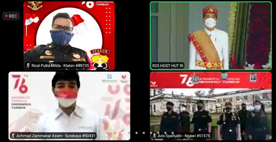 Masih Pandemi, Senkom Mitra Polri Klaten Upacara HUT RI Bersama Presiden Jokowi Secara Virtual