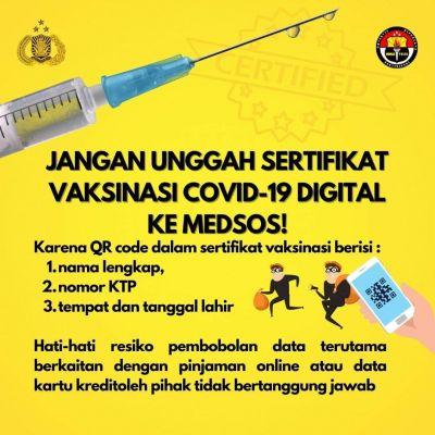 Bahaya, Stop Unggah Sertifikat Vaksin Di Medsos!